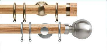 Wood and Metal Mix Curtain Poles