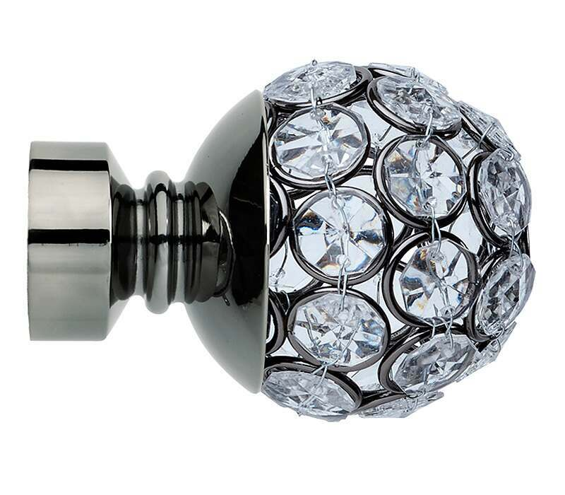 Rolls Neo Style Jewelled Ball 28mm Curtain Pole Finials (Pair)