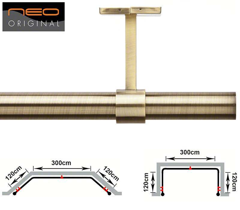 Rolls Neo 3 Sided 28mm Bay Window Pole for Eyelet Curtains - 540cm (Ceiling Fix)