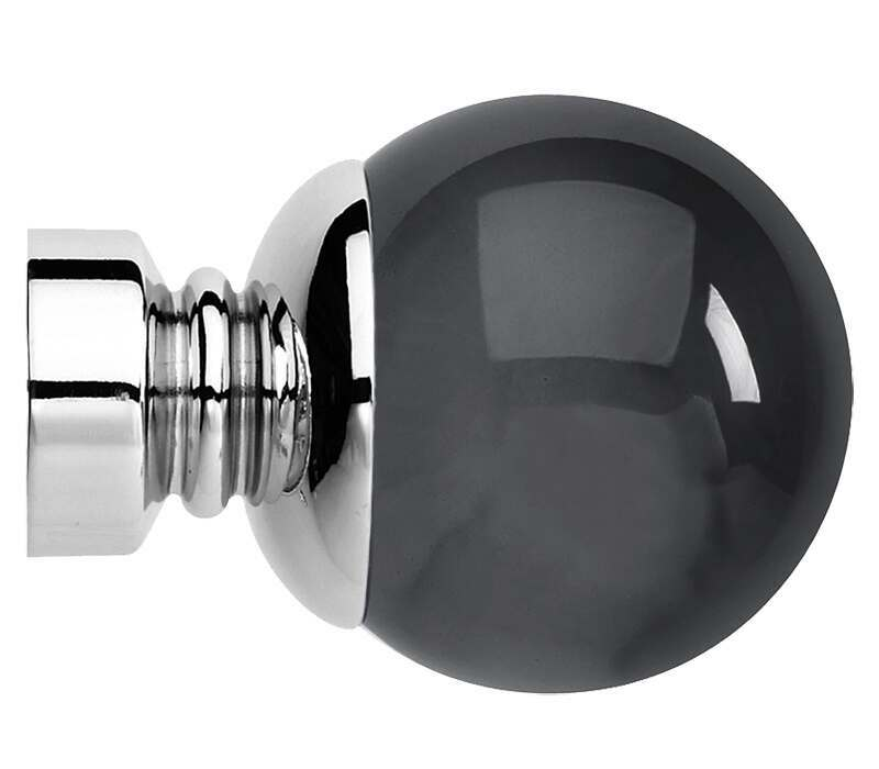 Rolls Neo Premium Smoke Grey Ball Finials for 35mm Curtain Poles (Pair)
