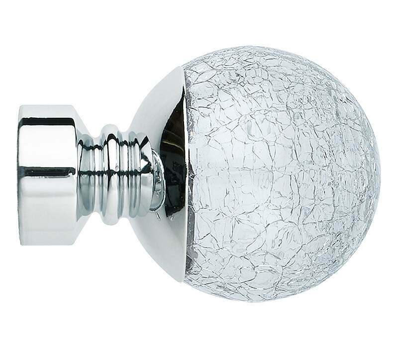 Rolls Neo Style 28mm Cracked Glass Ball Finials (Pair)