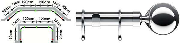 Speedy Nikola 28mm 3 Sided Bay Window Curtain Pole - 420cm (Wall Fix)