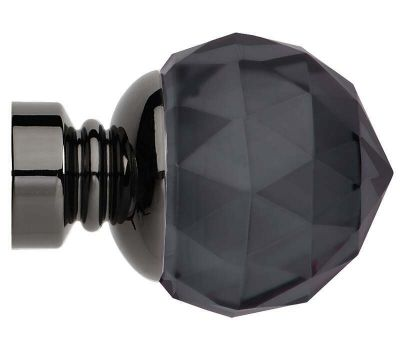 Rolls Neo Premium Smoke Grey Faceted Ball Finials for 35mm Curtain Poles (Pair)
