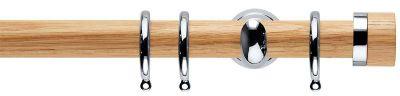 Rolls Neo Oak Stud  28mm Wooden Curtain Pole