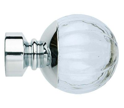 Rolls Neo Style Clear Pumpkin Ball Finials for 28mm Poles (Pair)