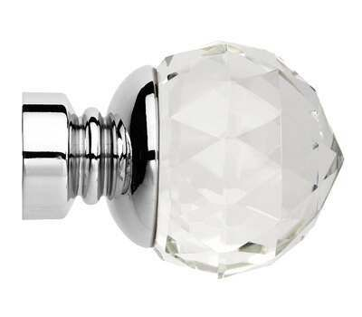 Rolls Neo Premium Clear Faceted Ball Finials for 28mm Curtain Poles (Pair)
