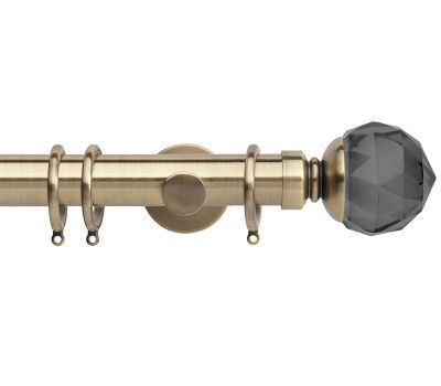 Rolls Neo Premium Smoke Grey Faceted Ball Metal 35mm Curtain Pole