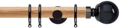 Rolls Neo Premium Smoke Grey Ball 35mm Wooden Curtain Pole