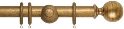Museum Plain Ball 35mm Wooden Curtain Poles