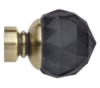 Rolls Neo Premium Smoke Grey Faceted Ball Finials for 28mm Curtain Poles (Pair)