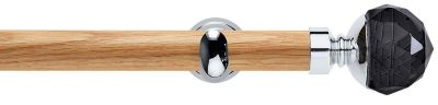 Rolls Neo Premium Smoke Grey Faceted Ball 28mm Wooden Eyelet Curtain Pole