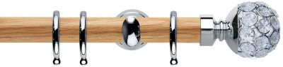 Rolls Neo Style Jewelled Ball 28mm Wooden Curtain Poles