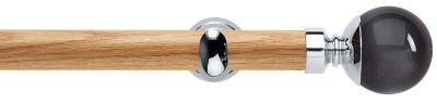 Rolls Neo Premium Smoke Grey Ball Wooden 28mm Eyelet Curtain Pole