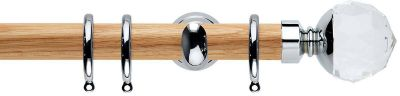 Rolls Neo Premium Clear Faceted Ball Wooden 28mm Curtain Pole