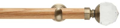 Rolls Neo Premium Clear Faceted Ball 28mm Wooden Eyelet Curtain Pole