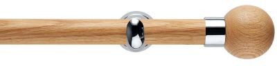 Rolls Neo Oak Ball 28mm Wooden Eyelet Curtain Poles