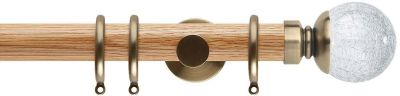 Rolls Neo Style Cracked Glass Ball 35mm Wood Curtain Pole