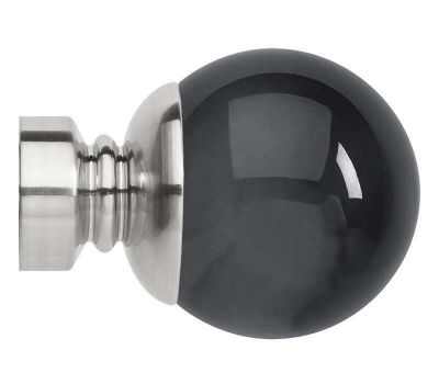 Rolls Neo Premium Smoke Grey Ball Finials for 28mm Curtain Poles (Pair)