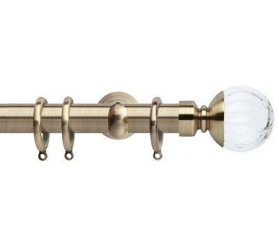 Rolls Neo Style Clear Glass Pumpkin Ball 28mm Metal Curtain Poles