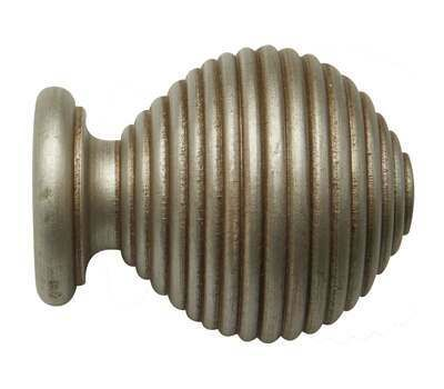 Rolls Modern Country Ribbed Ball Finial for 45mm Curtain Poles