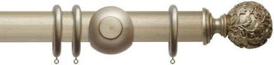 Rolls Modern Country Floral Ball 45mm Wooden Curtain Pole