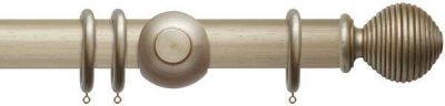 Rolls Modern Country Ribbed Ball 45mm Wooden Curtain Pole