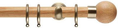 Rolls Neo Oak Ball  28mm Wood Curtain Poles