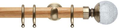 Rolls Neo Style Crackled Glass Ball 28mm Wooden Curtain Pole