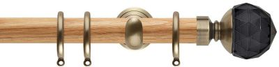 Rolls Neo Premium Smoke Grey Faceted Ball 28mm Wood Curtain Poles