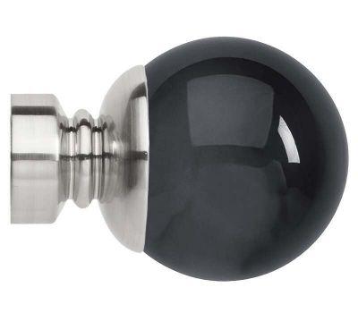 Rolls Neo Premium Smoke Grey Ball Finials for 35mm Curtain Poles (Pair)