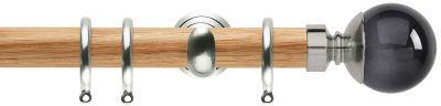 Rolls Neo Premium Smoke Grey Ball 28mm Wooden Curtain Pole