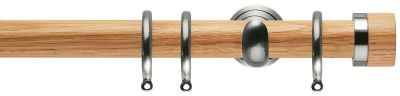 Rolls Neo Oak Stud  28mm Wooden Curtain Pole