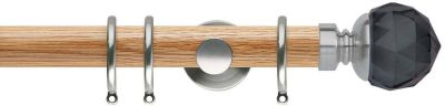 Rolls Neo Premium Smoke Grey Faceted Ball 35mm Wooden Curtain Poles