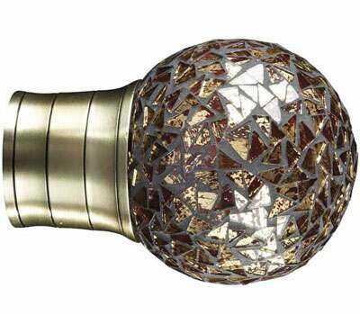 Galleria Mosaic Gold Ball Finial for 50mm Curtain Poles