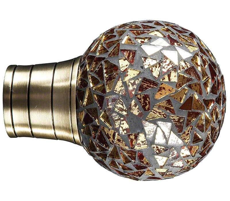 Galleria Gold Mozaic Ball Finial for 35mm Curtain Poles
