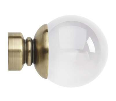 Rolls Neo Premium Clear Ball Finials for 28mm Curtain Poles (Pair)