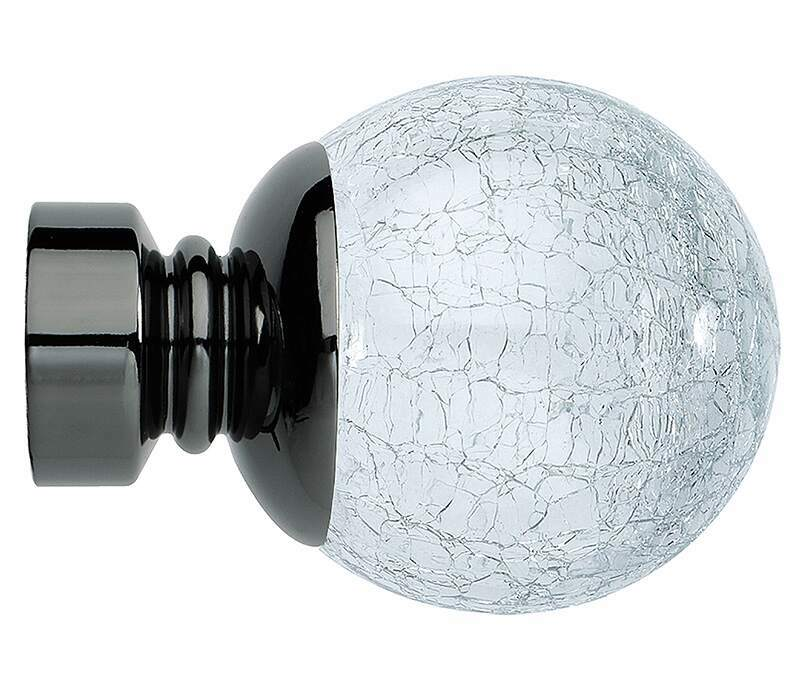 Rolls Neo Cracked Glass Ball 35mm Curtain Pole Finials (Pair)