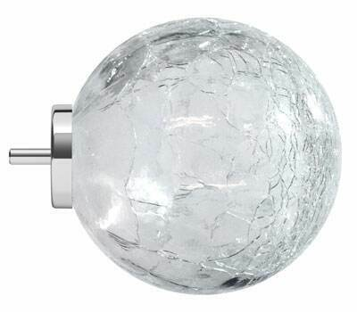 Cracked glass ball finials for Swish Design Studio poles