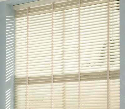 Beautiful Cream Wooden Blind Ideal For Bedrooms Of Any Colour