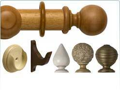 Rolls Modern Country wooden curtain pole and fittings