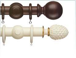 Curtain Poles in Wood stain and special paint effects