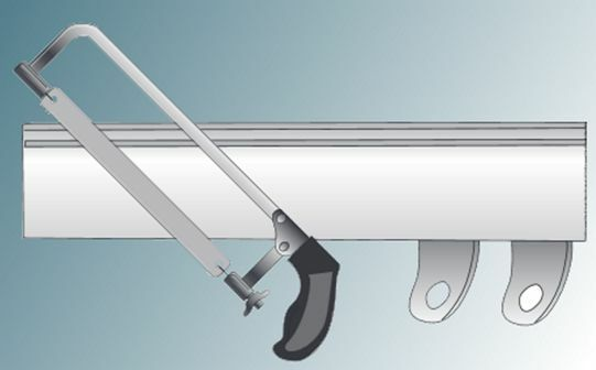 Shorten curtain track with hacksaw