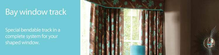Bay window curtain tracks and rails