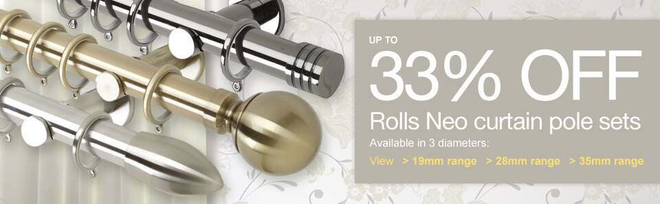Metal curtain poles direct including Rolls Neo