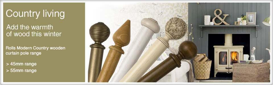 Wooden Curtain Poles including Rolls Modern Country
