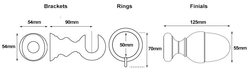 Cameron Fuller Acorn 35mm Curtain Pole Measurements