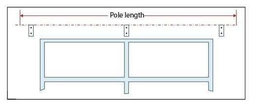 Centre bracket for extra long pole