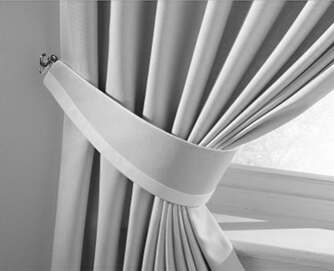Curtain tie backs with contrasting strip