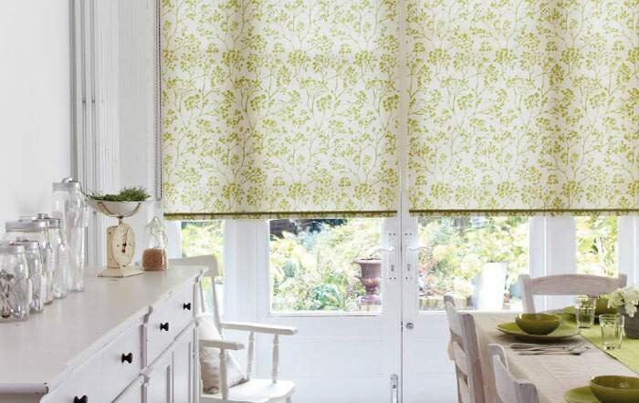 A bright ready made roller blind in the kitchen