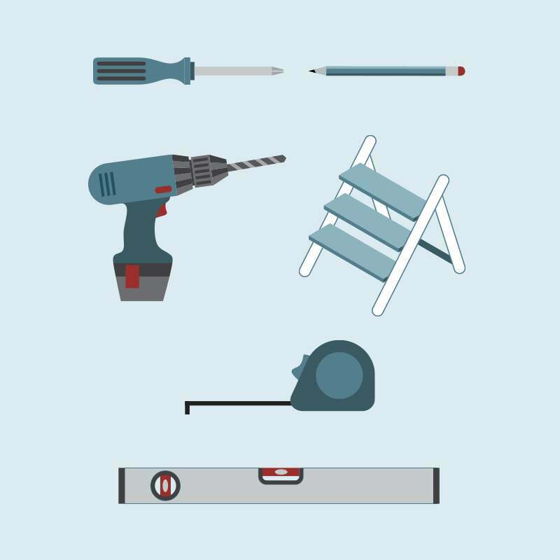Tools for fitting curtain poles